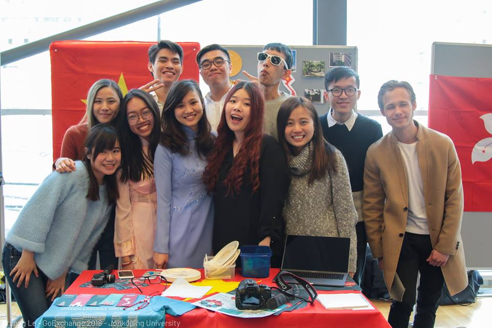 Our Booth at International Fair - Truong Le & Linh Vo - Spring Exchange Sem of AY 2017-2018